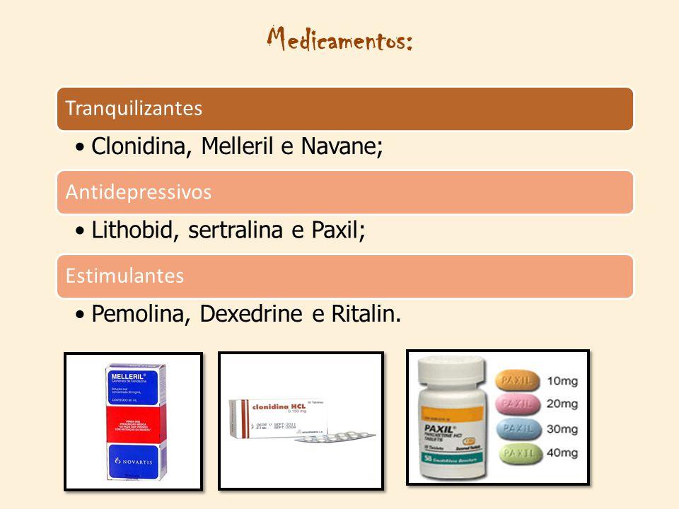 Medicamentos: Clonidina, Melleril e Navane;