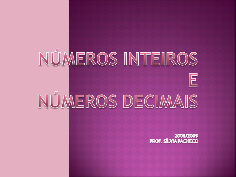 Números inteiros e números decimais 2008/2009 Prof. Sílvia Pacheco