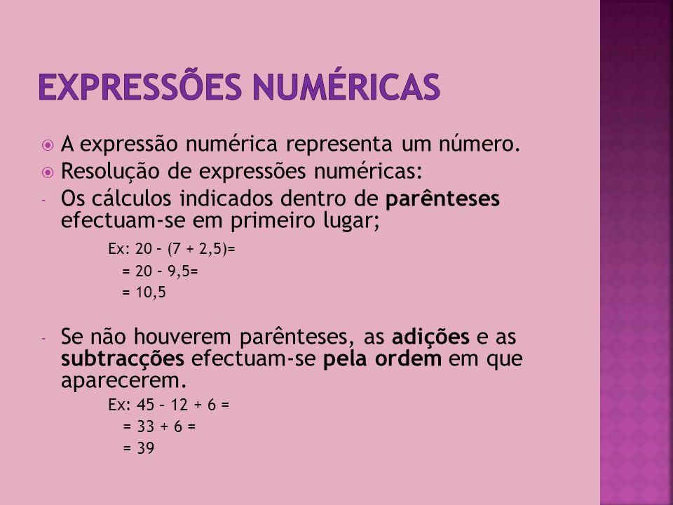Expressões numéricas A expressão numérica representa um número.