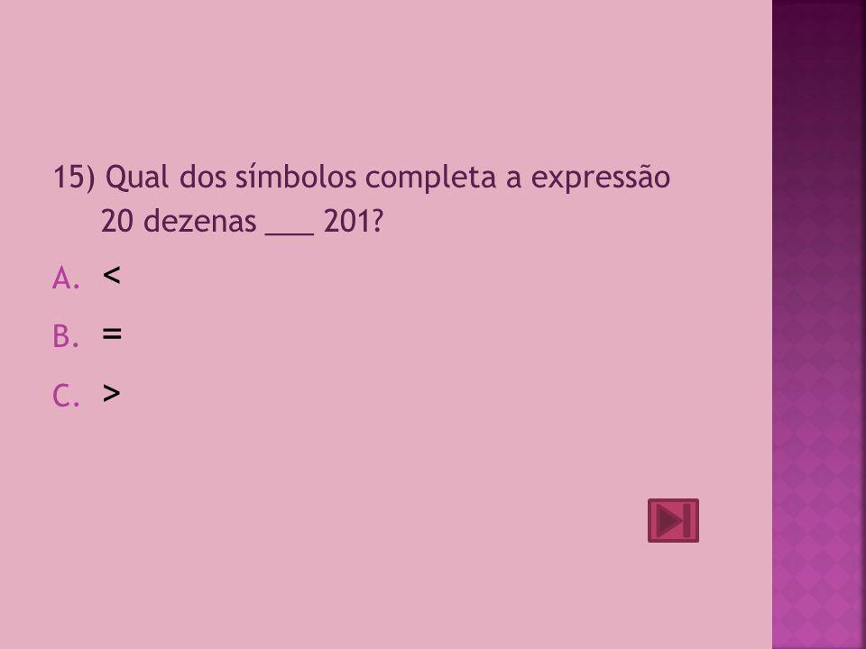 < = > 15) Qual dos símbolos completa a expressão