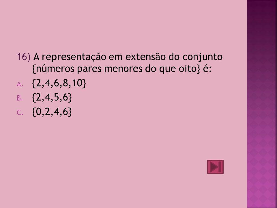 16) A representação em extensão do conjunto {números pares menores do que oito} é: