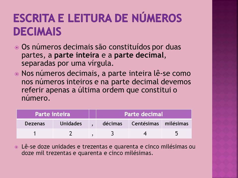Escrita e leitura de números decimais