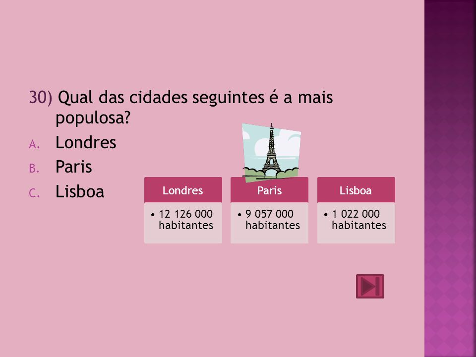 30) Qual das cidades seguintes é a mais populosa Londres Paris Lisboa