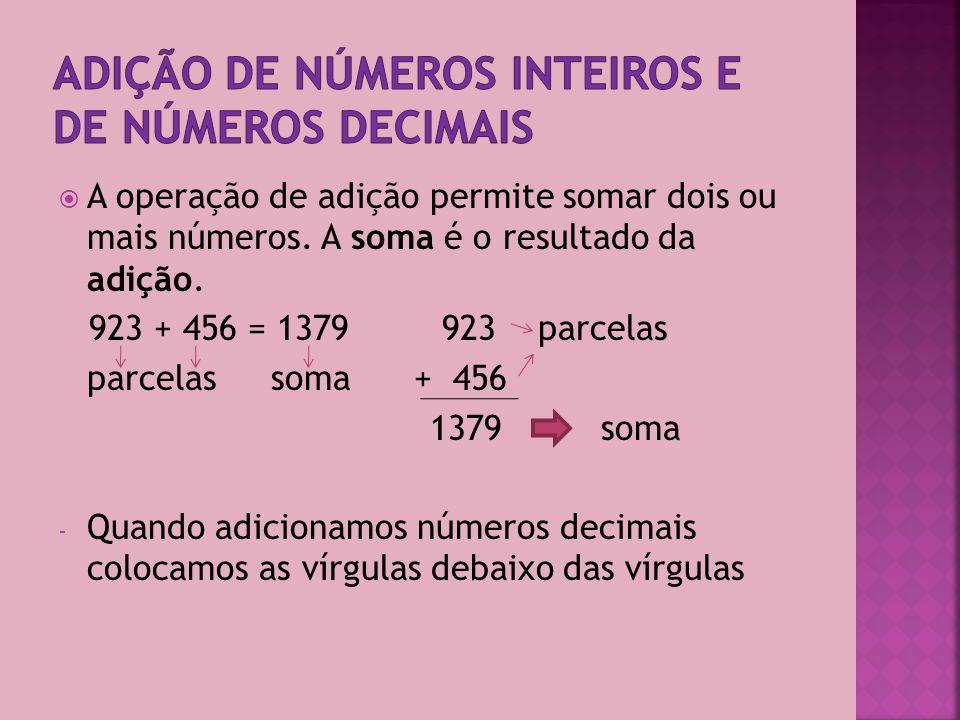 Adição de números inteiros e de números decimais