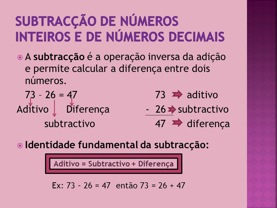 Subtracção de números inteiros e de números decimais