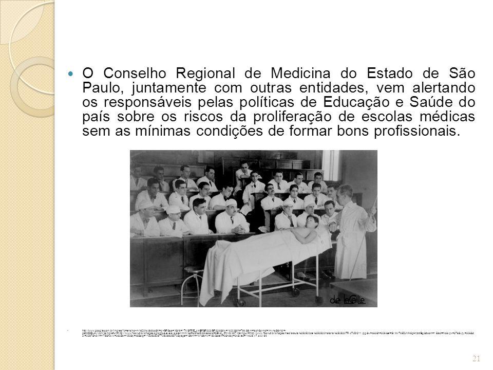 O Conselho Regional de Medicina do Estado de São Paulo, juntamente com outras entidades, vem alertando os responsáveis pelas políticas de Educação e Saúde do país sobre os riscos da proliferação de escolas médicas sem as mínimas condições de formar bons profissionais.