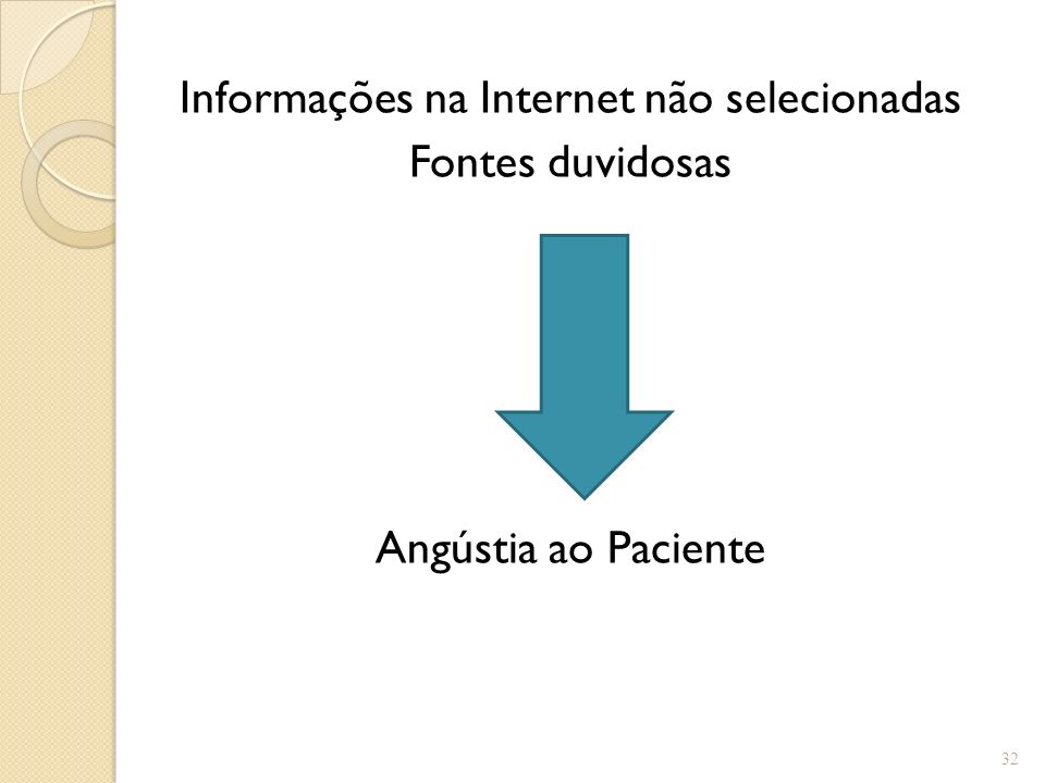 Informações na Internet não selecionadas
