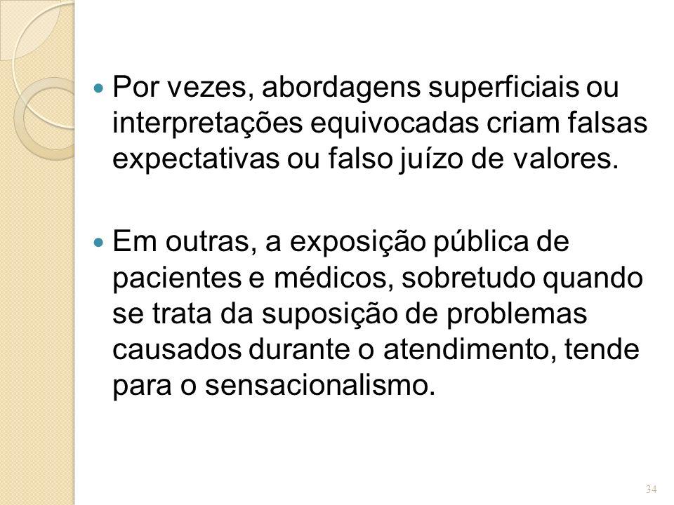 Por vezes, abordagens superficiais ou interpretações equivocadas criam falsas expectativas ou falso juízo de valores.