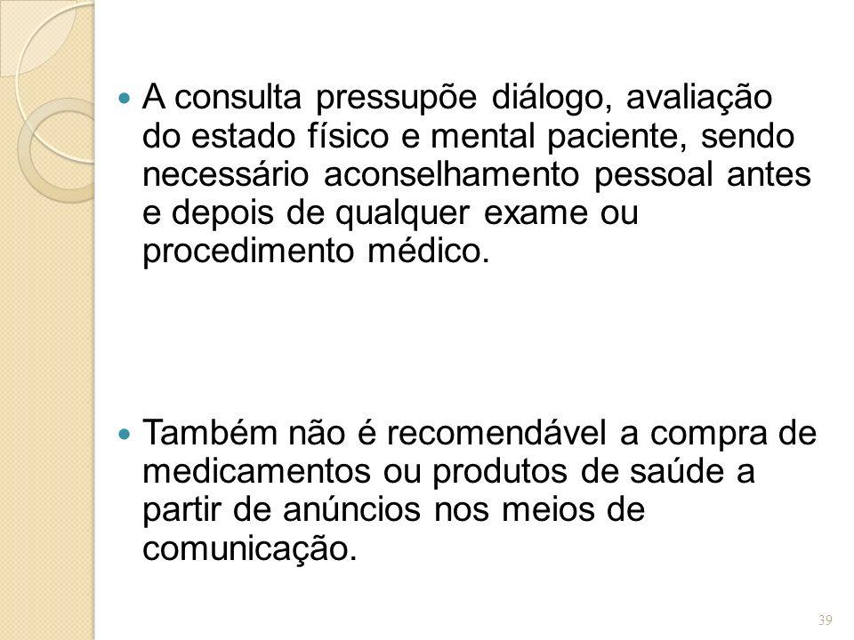 A consulta pressupõe diálogo, avaliação do estado físico e mental paciente, sendo necessário aconselhamento pessoal antes e depois de qualquer exame ou procedimento médico.