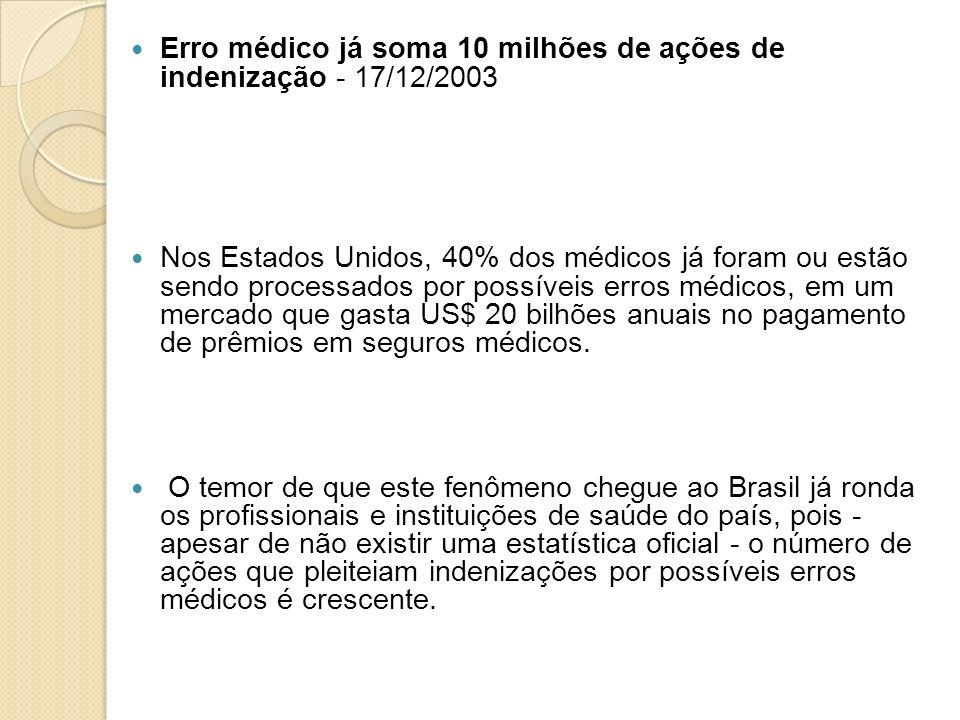 Erro médico já soma 10 milhões de ações de indenização - 17/12/2003