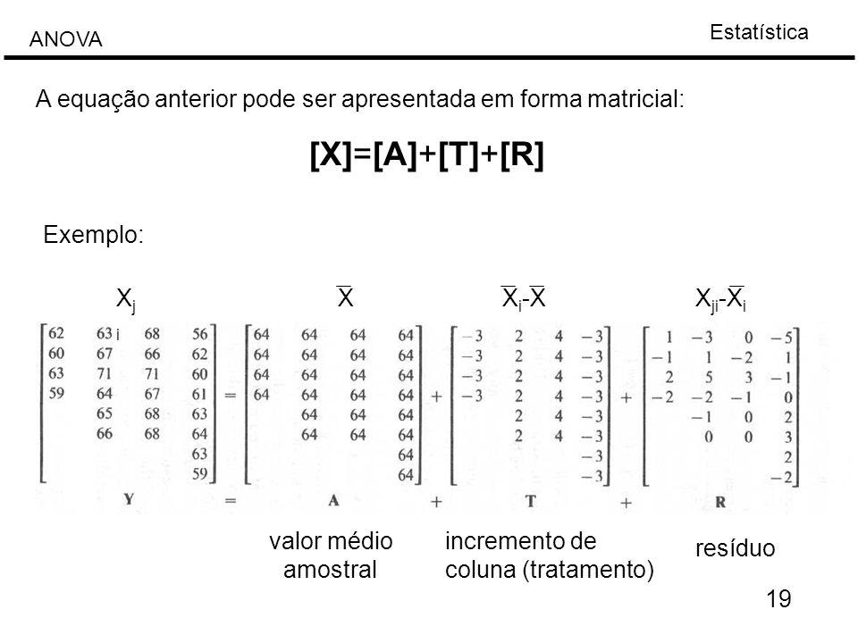 A equação anterior pode ser apresentada em forma matricial: