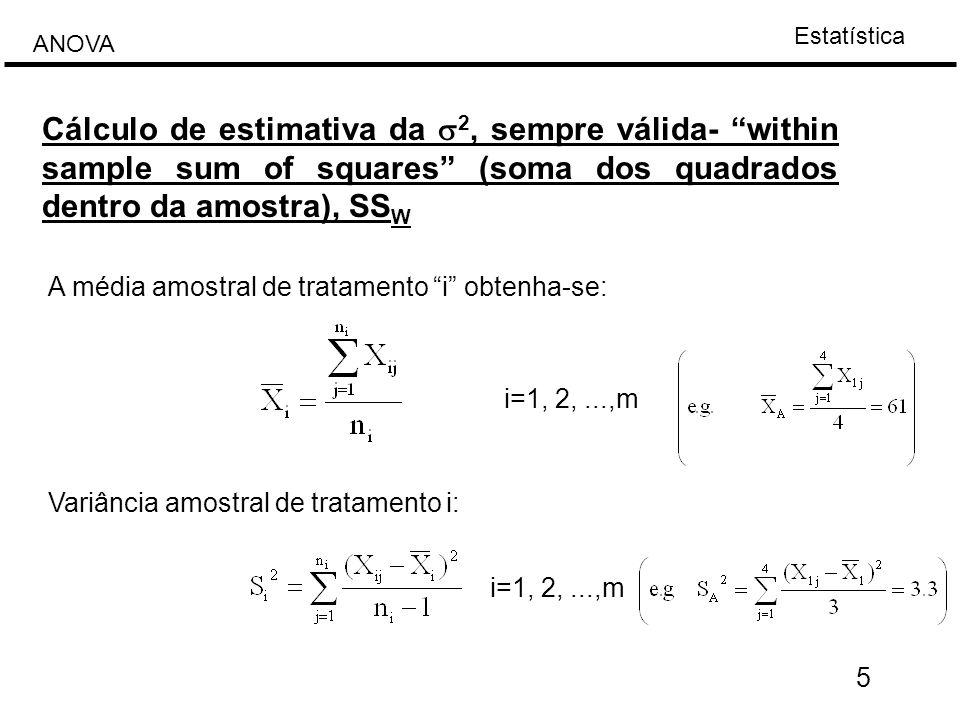 Cálculo de estimativa da s2, sempre válida- within sample sum of squares (soma dos quadrados dentro da amostra), SSW