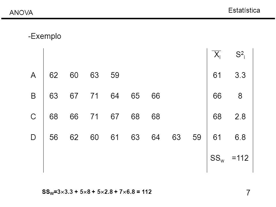 -Exemplo Xi. S2i. A. 62. 60. 63. 59. 61. 3.3. B. 67. 71. 64. 65. 66. 8. C. 68. 2.8.