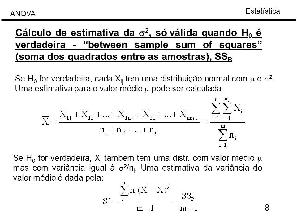 Cálculo de estimativa da s2, só válida quando H0 é verdadeira - between sample sum of squares (soma dos quadrados entre as amostras), SSB