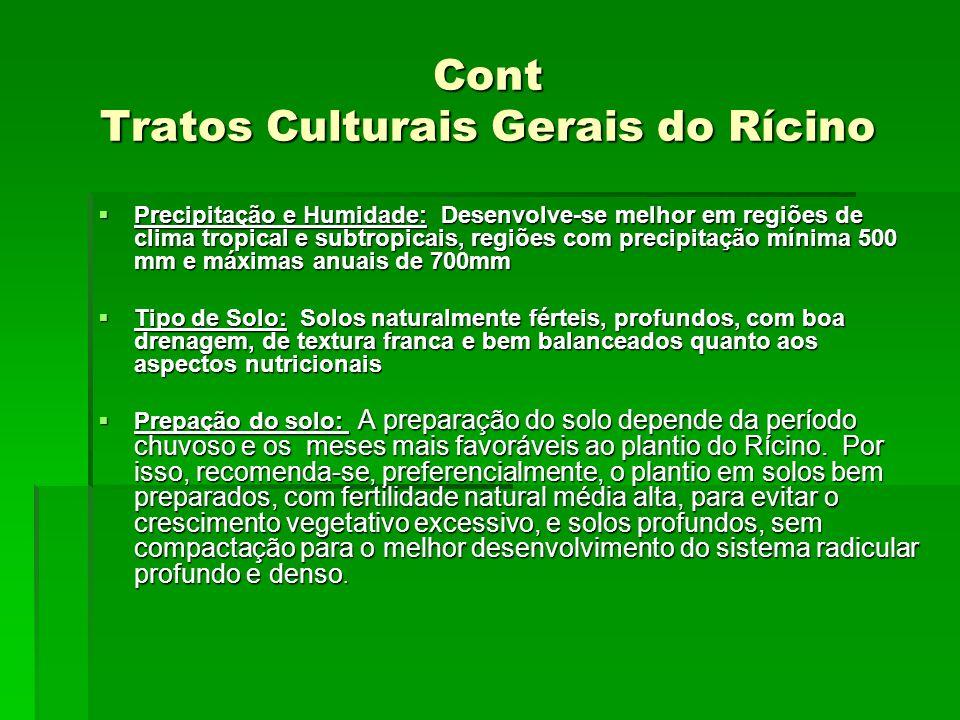 Cont Tratos Culturais Gerais do Rícino