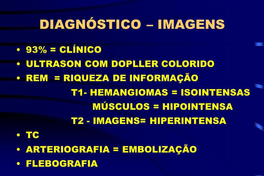 DIAGNÓSTICO – IMAGENS 93% = CLÍNICO ULTRASON COM DOPLLER COLORIDO