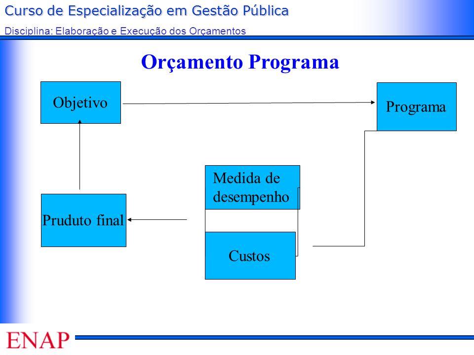 Orçamento Programa Objetivo Programa Medida de desempenho