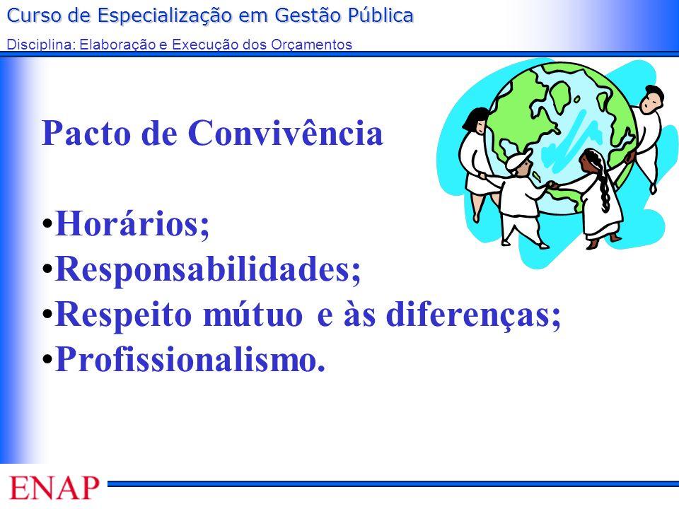 Pacto de Convivência Horários; Responsabilidades; Respeito mútuo e às diferenças; Profissionalismo.