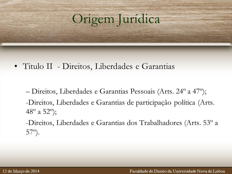 Origem Jurídica Titulo II - Direitos, Liberdades e Garantias