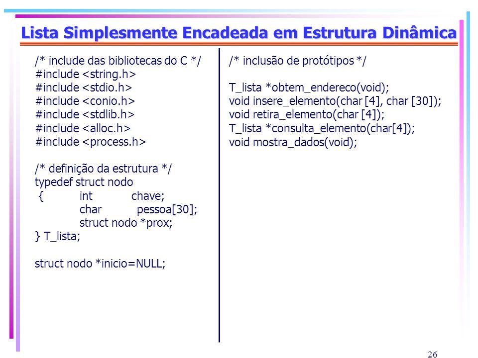 Lista Simplesmente Encadeada em Estrutura Dinâmica