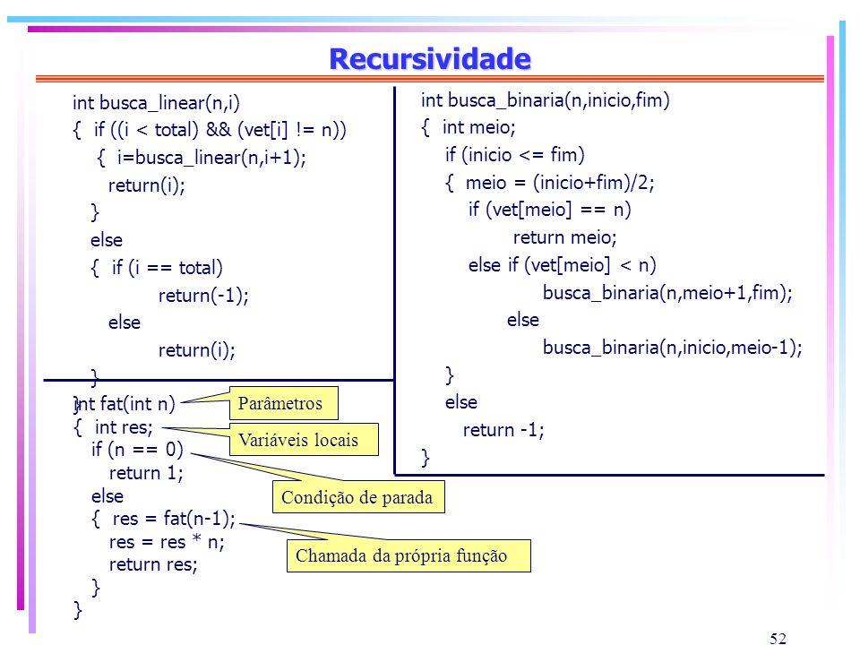 Recursividade int busca_linear(n,i) int busca_binaria(n,inicio,fim)