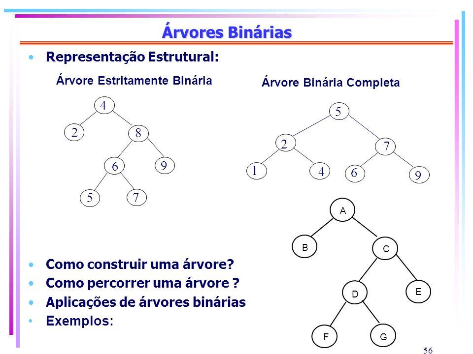 Árvores Binárias Representação Estrutural: 5 8 2 7
