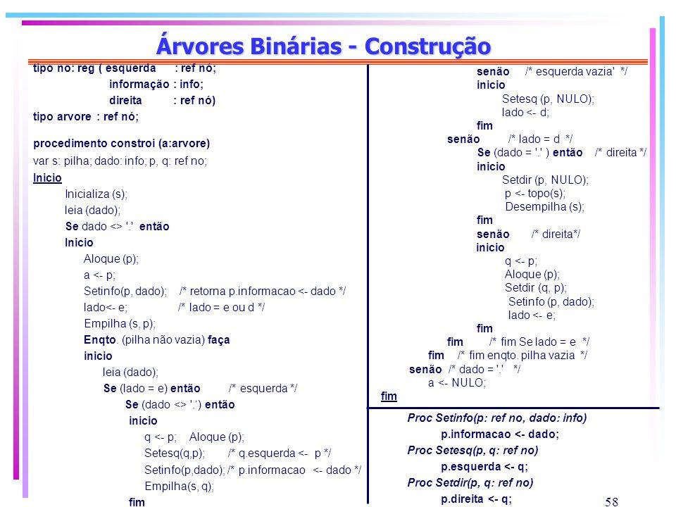 Árvores Binárias - Construção