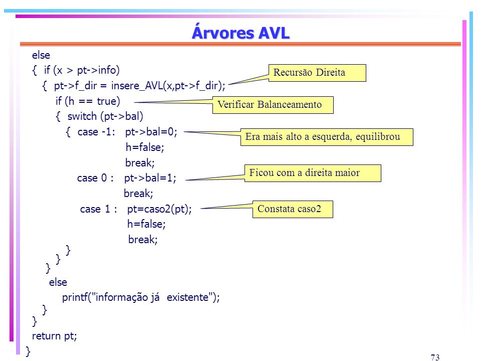 Árvores AVL else { if (x > pt->info)