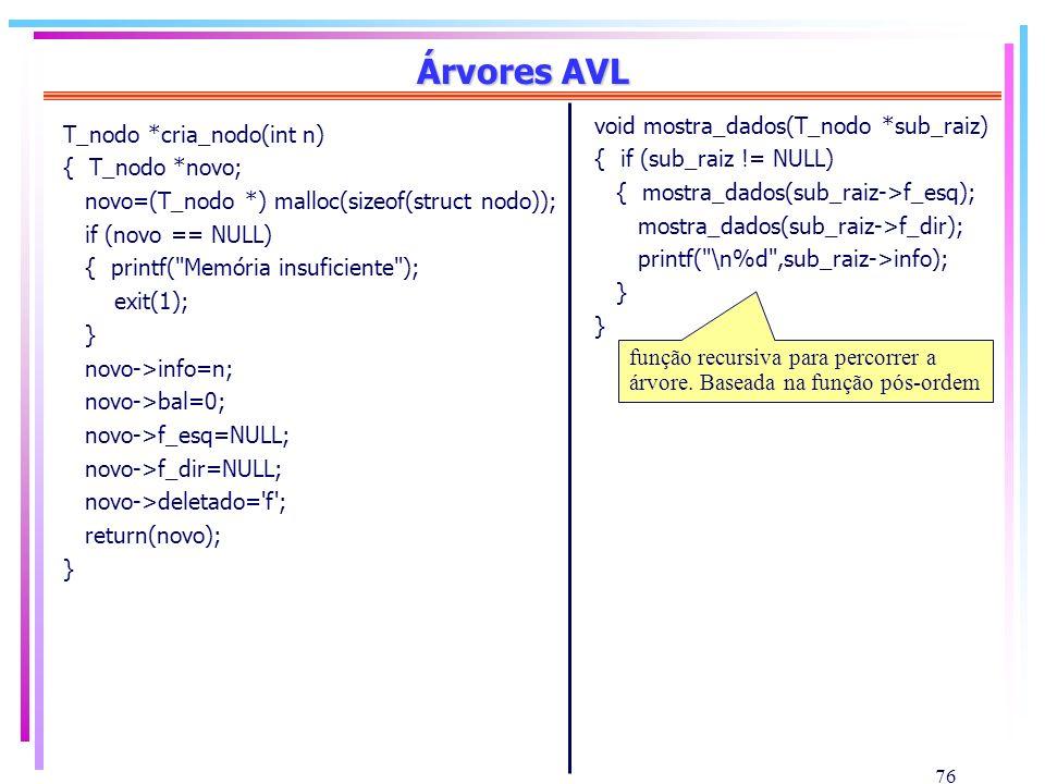 Árvores AVL void mostra_dados(T_nodo *sub_raiz)
