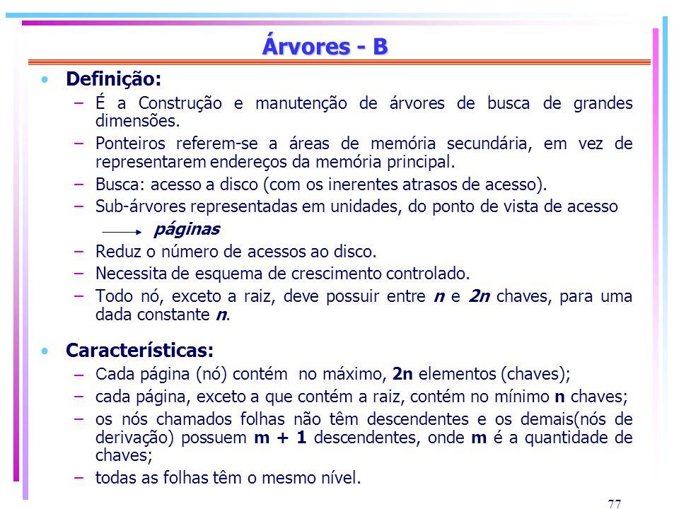 Árvores - B Definição: Características: