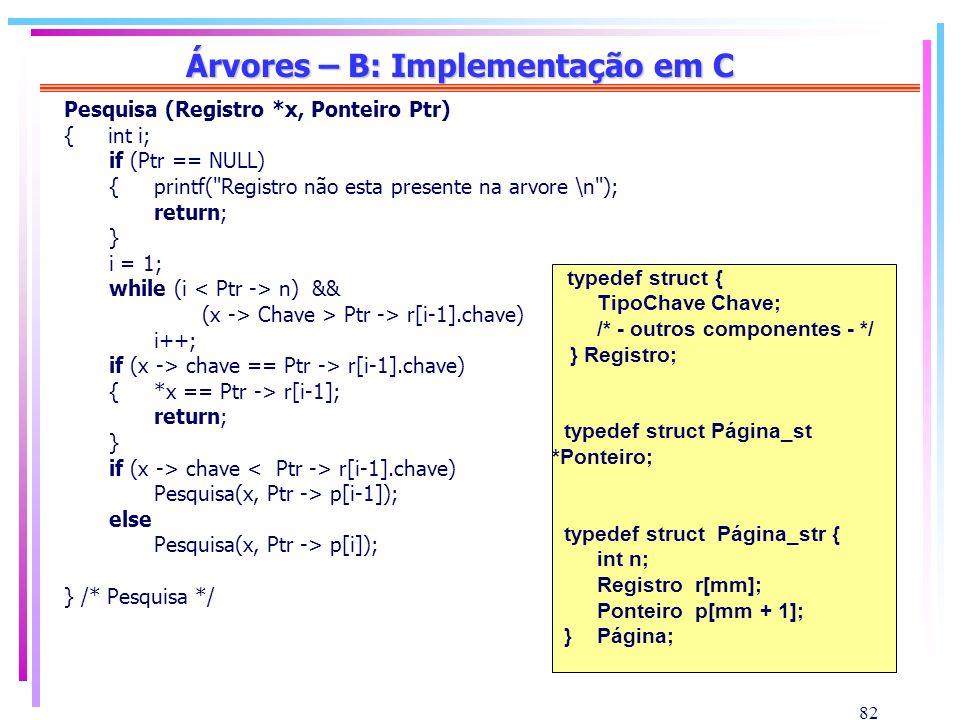 Árvores – B: Implementação em C