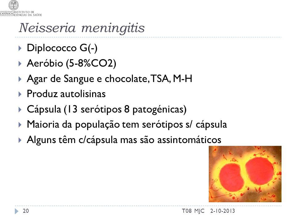 Neisseria meningitis Diplococco G(-) Aeróbio (5-8%CO2)