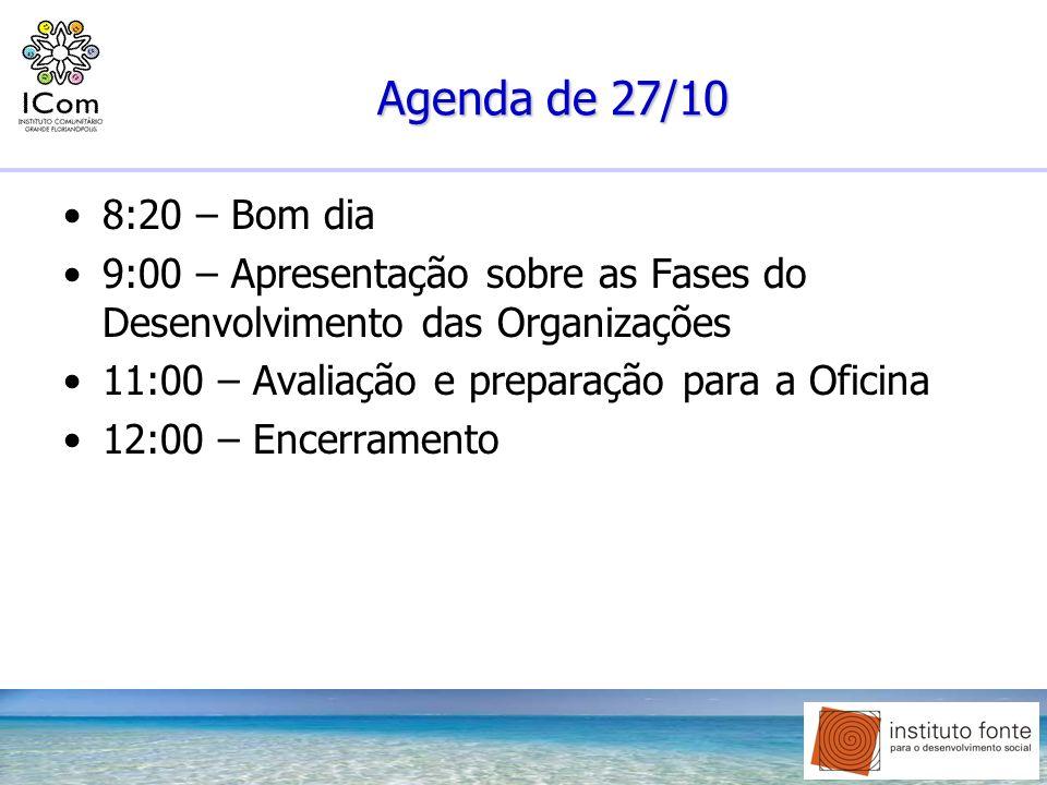 Agenda de 27/10 8:20 – Bom dia. 9:00 – Apresentação sobre as Fases do Desenvolvimento das Organizações.