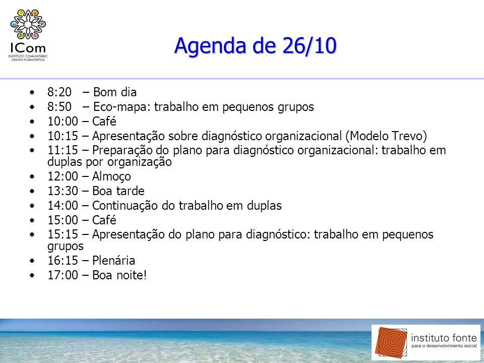Agenda de 26/108:20 – Bom dia. 8:50 – Eco-mapa: trabalho em pequenos grupos. 10:00 – Café.