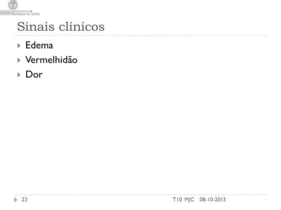 Sinais clínicos Edema Vermelhidão Dor T10 MJC 08-10-2013