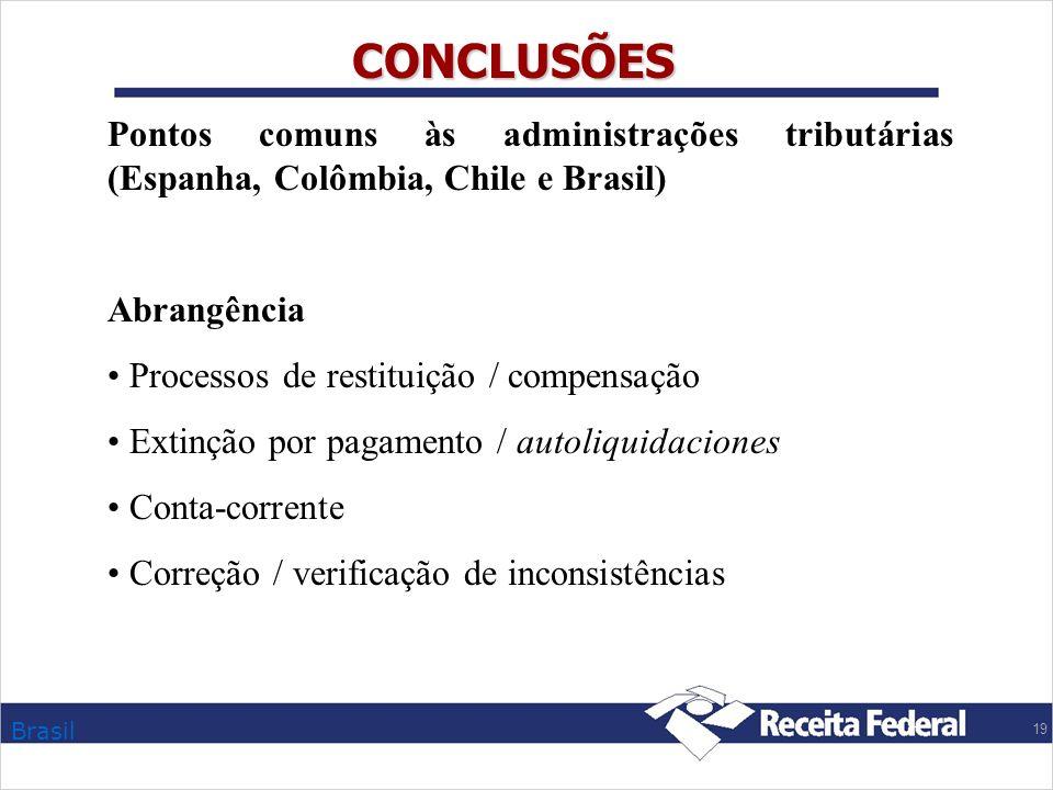 CONCLUSÕES Pontos comuns às administrações tributárias (Espanha, Colômbia, Chile e Brasil) Abrangência.
