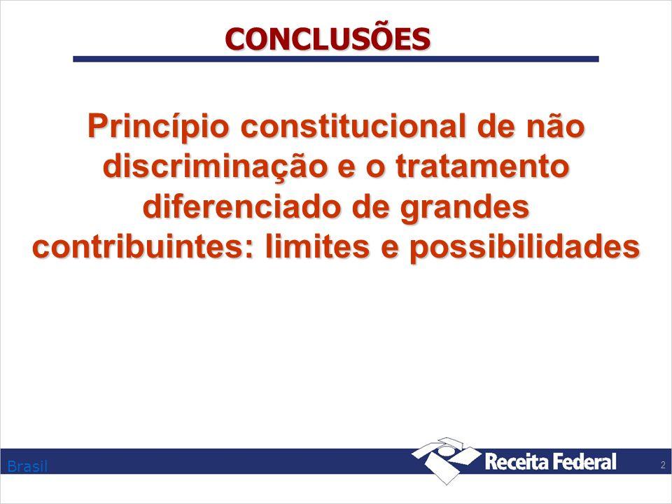 CONCLUSÕES Princípio constitucional de não discriminação e o tratamento diferenciado de grandes contribuintes: limites e possibilidades.