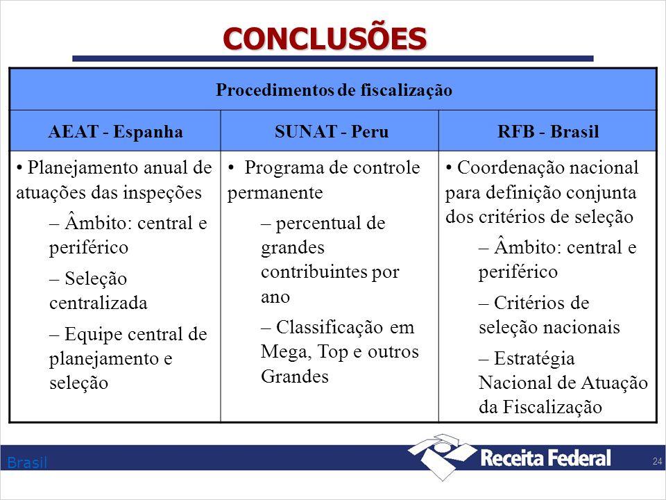 CONCLUSÕES Planejamento anual de atuações das inspeções