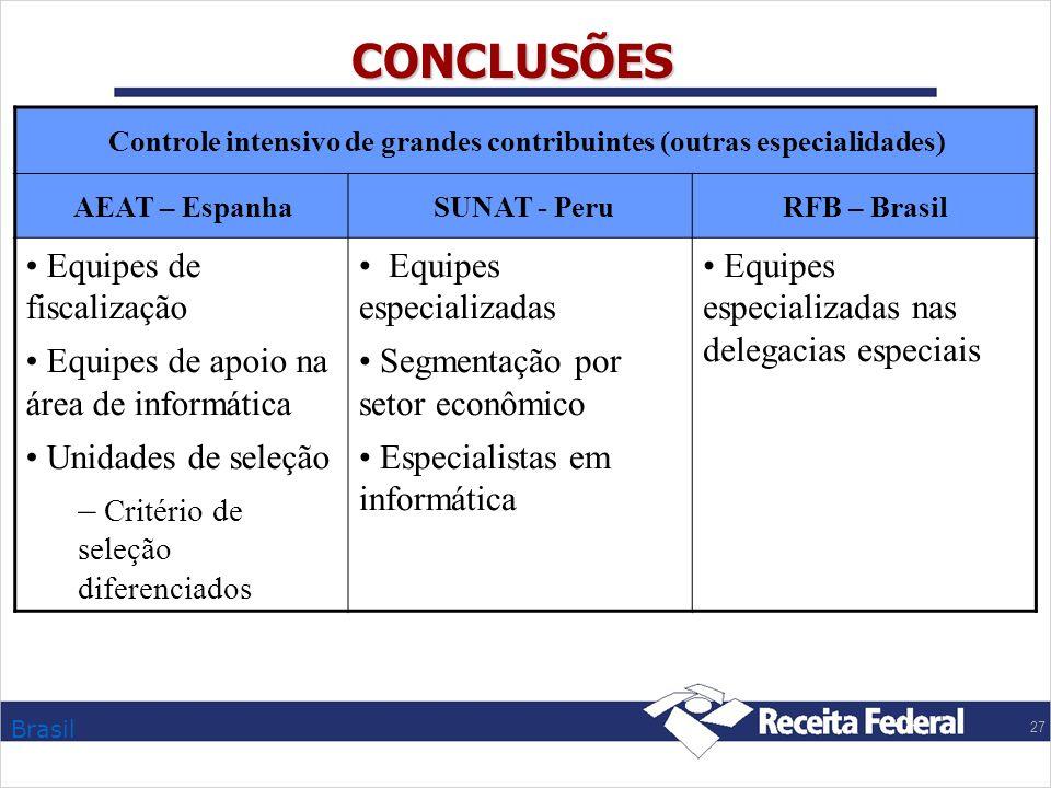 CONCLUSÕES Equipes de fiscalização