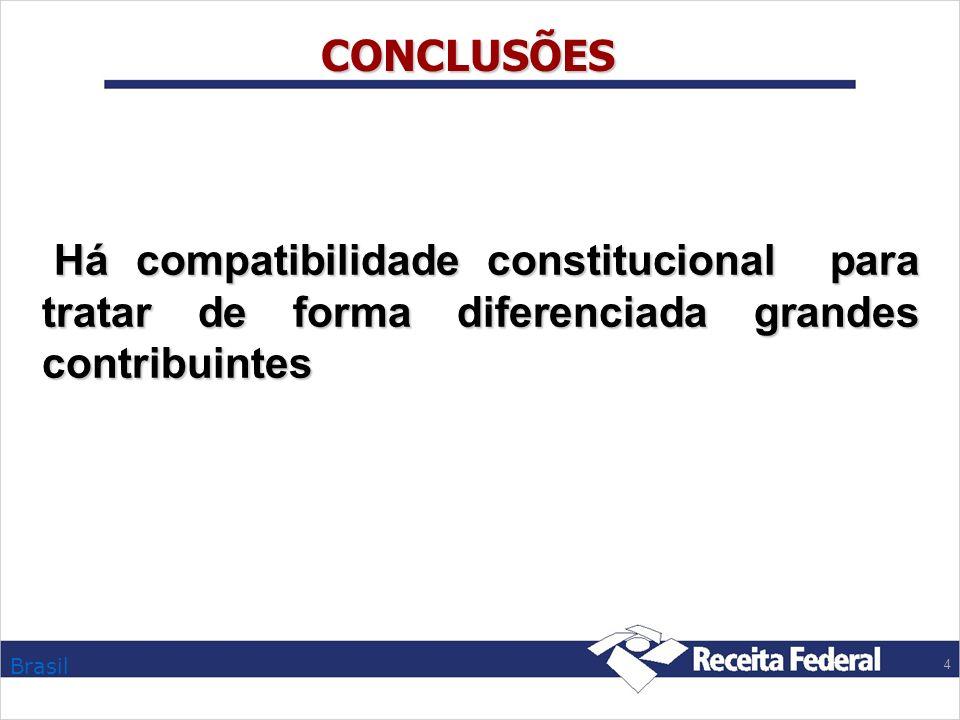CONCLUSÕES Há compatibilidade constitucional para tratar de forma diferenciada grandes contribuintes.