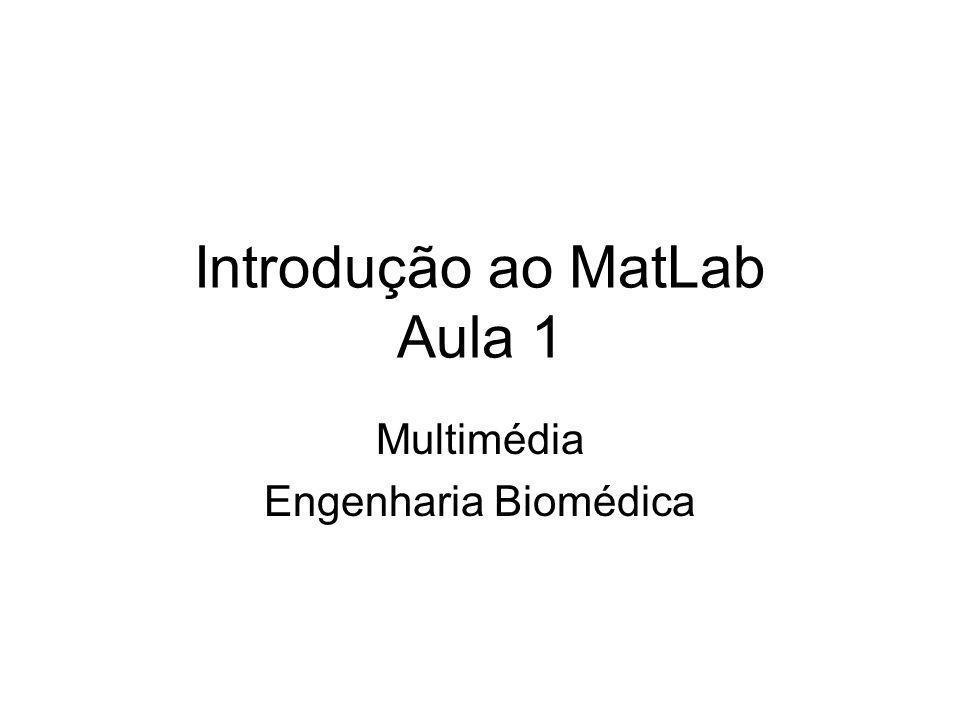 Introdução ao MatLab Aula 1