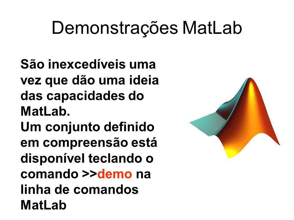 Demonstrações MatLab São inexcedíveis uma vez que dão uma ideia das capacidades do MatLab.
