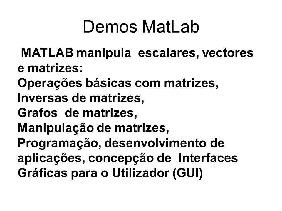 Demos MatLab MATLAB manipula escalares, vectores e matrizes: