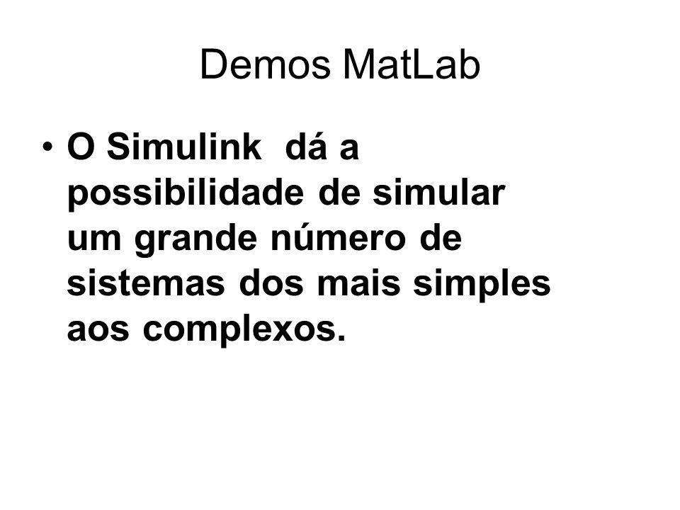Demos MatLab O Simulink dá a possibilidade de simular um grande número de sistemas dos mais simples aos complexos.