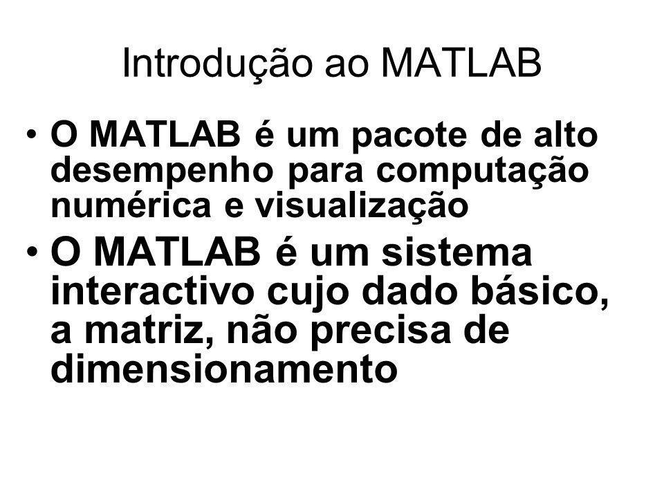 Introdução ao MATLAB O MATLAB é um pacote de alto desempenho para computação numérica e visualização.