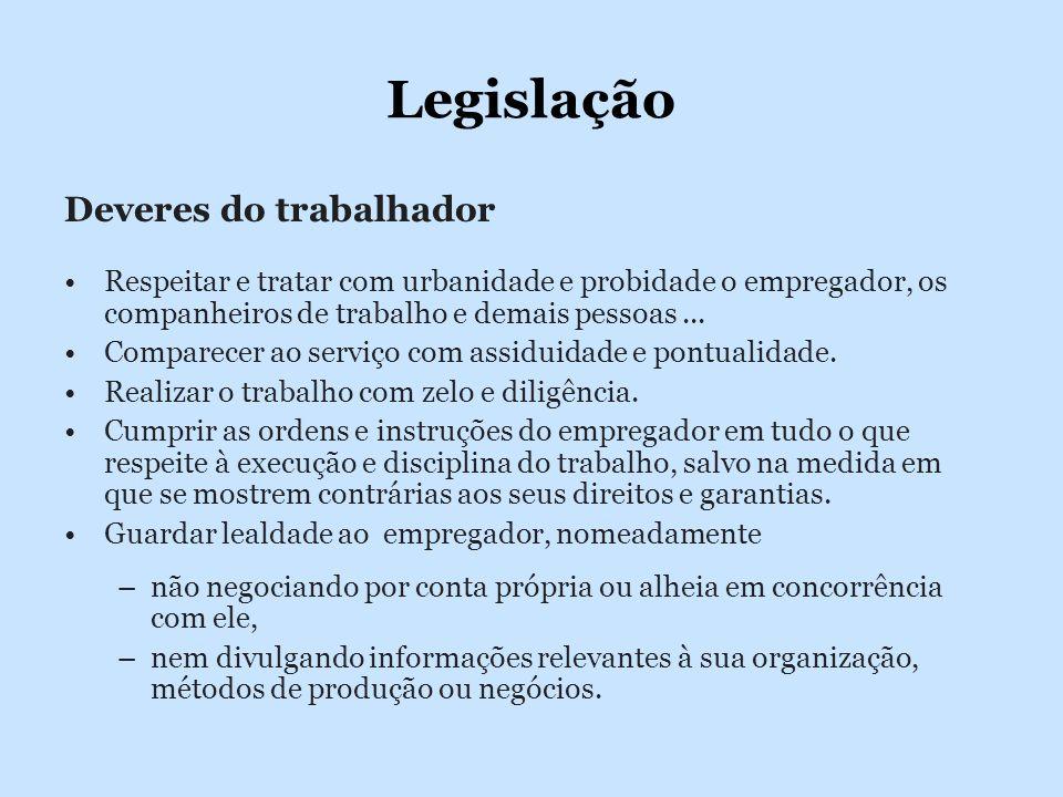 Legislação Deveres do trabalhador