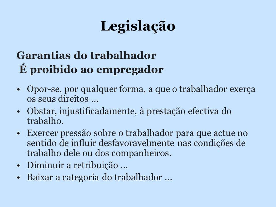 Legislação Garantias do trabalhador É proibido ao empregador