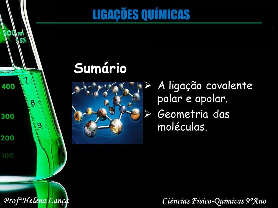 Sumário LIGAÇÕES QUÍMICAS A ligação covalente polar e apolar.