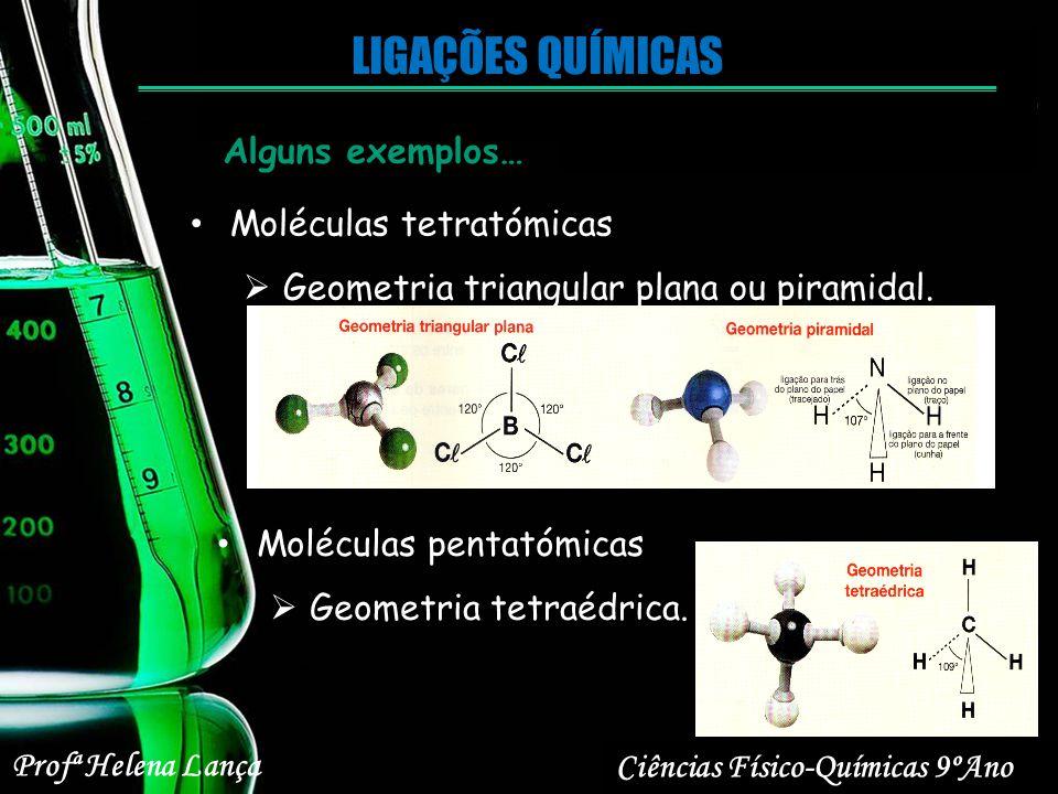 LIGAÇÕES QUÍMICAS Alguns exemplos… Moléculas tetratómicas