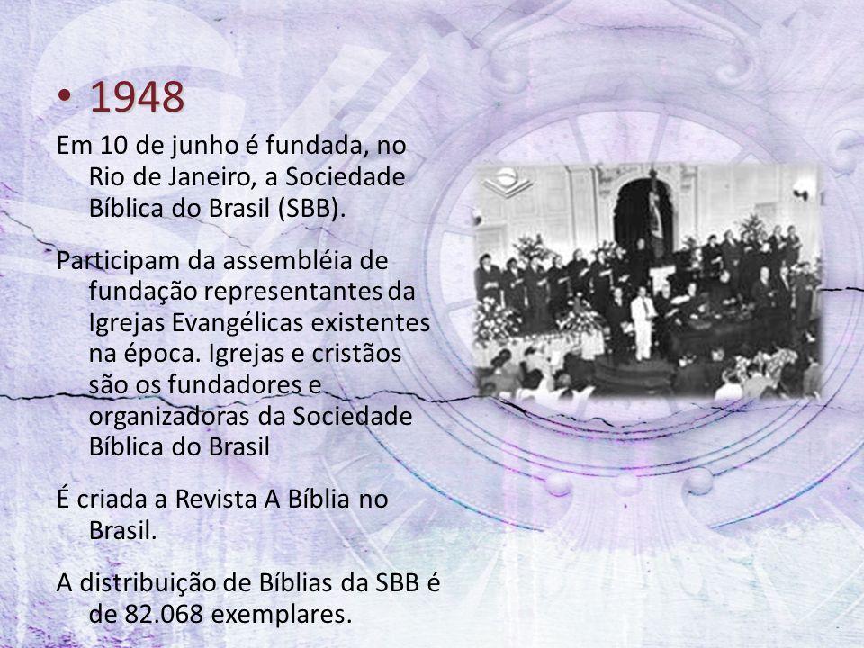 1948 Em 10 de junho é fundada, no Rio de Janeiro, a Sociedade Bíblica do Brasil (SBB).